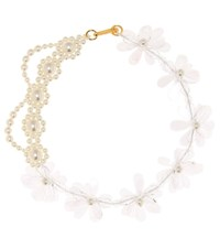 Simone Rocha Patchwork Flower Necklace White