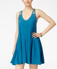City Triangles City Studios Juniors' Crochet Trim Swing Dress Teal