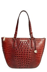 Brahmin Willa Croc Embossed Leather Tote Brown Pecan