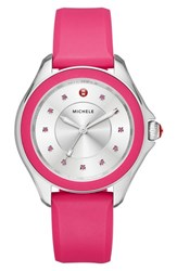 Michele Women's 'Cape' Topaz Dial Silicone Strap Watch 40Mm
