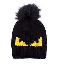 Fendi Monster Intarsia Wool Knit Beanie Hat