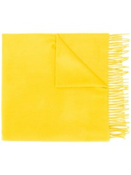 Begg And Co Fringed Cashmere Scarf Yellow