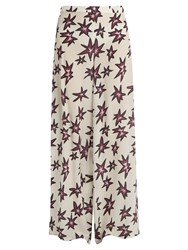 Rockins Explosion Print Silk Crepe De Chine Trousers Ivory Multi