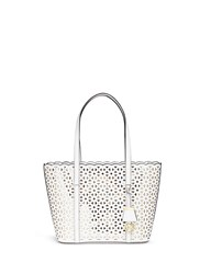 Michael Kors 'Desi' Small Floral Perforated Leather Travel Tote White