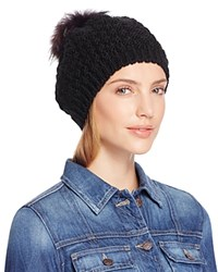 Echo Beret With Asiatic Raccoon Fur Pom Pom Black