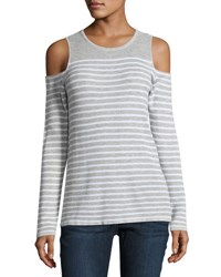 Neiman Marcus Striped Knit Cold Shoulder Top Gray White