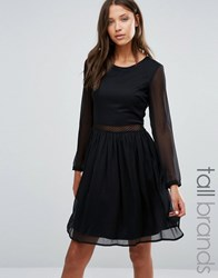 Y.A.S Tall Long Sleeve Dress With Lace Insert Black