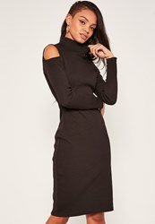 Missguided Black Cold Shoulder Polo Neck Dress
