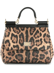 Dolce And Gabbana Small 'Sicily' Tote Brown