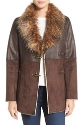 Jessica Simpson Women's Mixed Media Faux Shearling Jacket Dark Brown