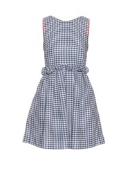 Mother Of Pearl Lola Gingham Check Tie Back Sleeveless Dress Blue White