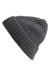 Andrew Stewart Men's Rib Knit Wool And Cashmere Beanie Grey Charcoal