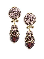 Heidi Daus Crystal And Rhinestone Ball Drop Earrings Burgundy