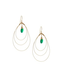 Rafia 3 Hoop Teardrop Earrings W Green Onyx Center Golden