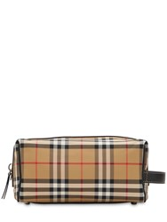 Burberry Checked Nylon Toiletry Bag Antique Yellow
