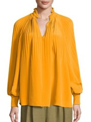 Tibi Edwardian Pleated Silk Tunic Mango