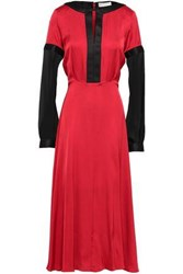 Amanda Wakeley Two Tone Chiffon And Satin Gown Red