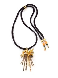 Lizzie Fortunato Gilded 6Mm 7Mm White Round Pearl Turquoise And Bone Tassel Pendant Necklace Gold Black