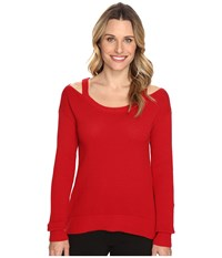 Michael Michael Kors Open Shoulder Sweater Red Blaze Women's Sweater
