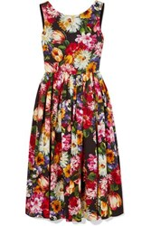 Dolce And Gabbana Pleated Floral Print Cotton Dress Black