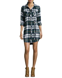 Rails Nadine Belted Plaid Shirtdress Green Ivory Flannel