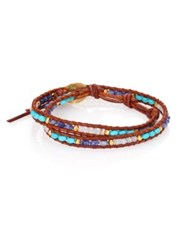 Chan Luu Turquoise Sodalite Amazonite And Leather Beaded Wrap Bracelet Tan Turquoise