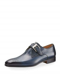 Magnanni Hand Antiqued Leather Buckled Oxford Blue