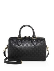 Gucci Medium Soft Signature Leather Boston Bag Black Rose