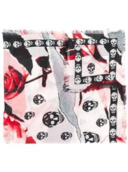 Alexander Mcqueen Roses And Skulls Printed Scarf Neutrals