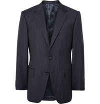 Gieves And Hawkes Midnight Blue Slim Fit Pinstriped Wool Blazer
