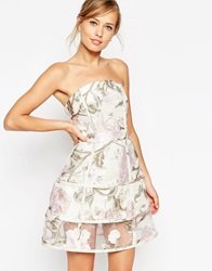 Asos Salon Organza And Jacquard Floral Cage Prom Dress Multi