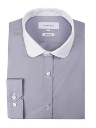 Limehaus Men's Grey Contrast Penny Round Shirt Grey