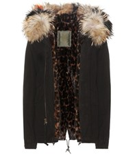 Mr And Mrs Italy Mini Fur Lined Cotton Parka With Fur Lined Hood Black