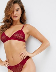 Asos Ria Basic Lace Mix And Match Triangle Bra Red