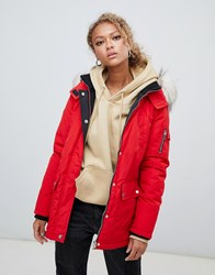 New Look Faux Fur Hooded Parka Red