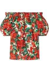 Dolce And Gabbana Off The Shoulder Floral Print Cotton Poplin Blouse Red