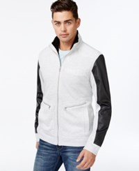Inc International Concepts Full Zip Faux Leather Sleeves Jacket Only At Macy's Cloud Grey Heather