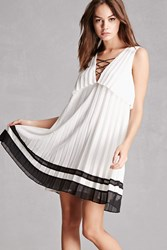 Forever 21 Contrast Pleated Dress White Black
