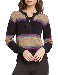 Bcbgeneration Striped Lace Up Sweater Black