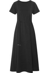 Christophe Lemaire Belted Cotton Jersey Midi Dress Black