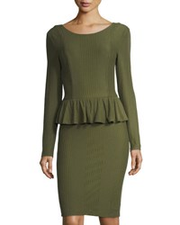Cynthia Steffe Florence Long Sleeve Peplum Dress Green