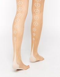 Jonathan Aston In Bloom Floral Backseam Tights Nudeivory