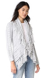 Bb Dakota Karli Fringe Shawl Collar Cardigan Light Heather Grey