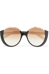 Cutler And Gross Round Frame Acetate Gold Tone Sunglasses Black