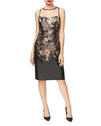 Betsey Johnson Illusion Jacquard Sheath Dress Gold Black