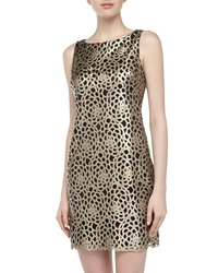 Alexia Admor Floral Laser Cut Faux Leather Dress Champagne