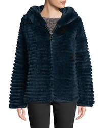 Belle Fare Reversible Fur And Down Jacket W Hood Navy Black