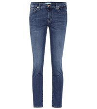 7 For All Mankind Pyper Cropped Mid Rise Skinny Jeans Blue