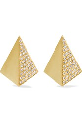 Ileana Makri Shadow 18 Karat Gold Diamond Earrings