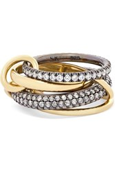 Spinelli Kilcollin Vega Set Of Four 18 Karat Gold And Rhodium Plated Sterling Silver Diamond Rings